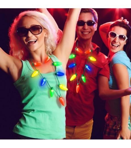 BRELONG 9LEDs LED Luminous Necklace Holiday Party Christmas 2PCS