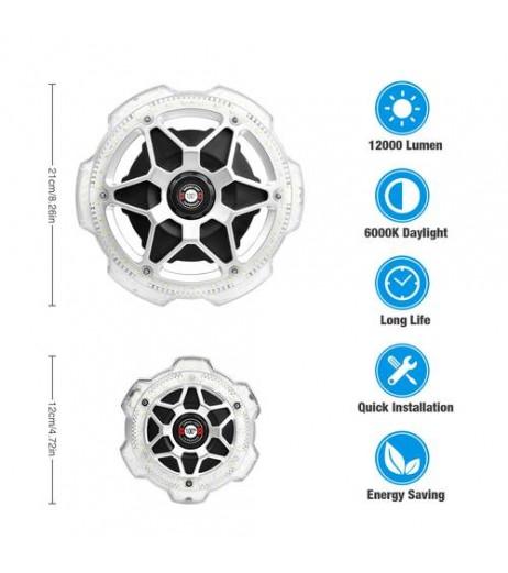 1/2/4x Garage Light Round 5-Head Lighting Ultra-high Brightness E26/E27 Silver