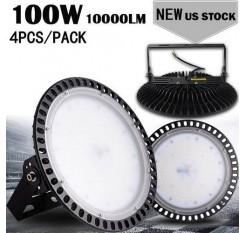 4pcs Ultraslim 100W UFO LED High Bay Light Factory Industrial Warehouse Commercial lighting