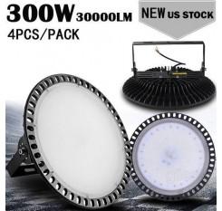 4pcs Ultraslim 300W UFO LED High Bay Light Factory Industrial Warehouse Commercial lighting