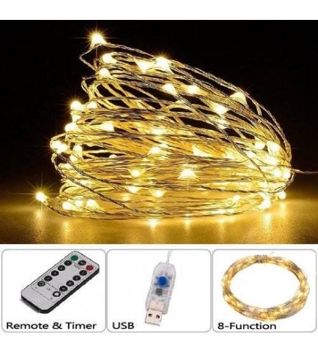 100LED 10M String Fariy Light USB Plug 8-Function Silver Wire Lamp Warm White