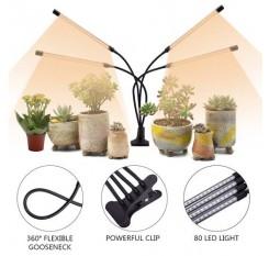 60W 5V Dimmable Four-tube Flat Clip Plant Light Full Spectrum Warm White Black