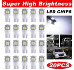 20 x T10 5050 LED Light Bulbs 5-SMD 192 168 194 W5W Wedge Reading Lamp 12V +Box